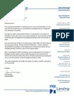 Lansing School District letter - Sept. 8, 2020