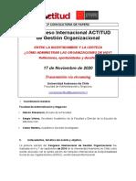 2a. Convocatoria Papers  - III Congreso Internacional ACTITUD de Gestión Organizacional 2020 - Univ. Autónoma de Chile