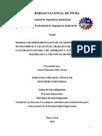 MODELO DE IMPLEMENTACION SISTEMA DE GESTION ASERRADERO