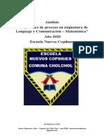 Análisis diagnósticos  Lenguaje y Matemática