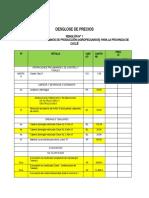 DESGLOSE DE PRECIOS PARA CRONOGRAMA
