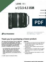 Canon EF-S 10-22mm f/3.5-4.5 USM lens manual