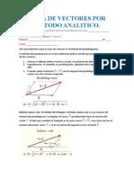 metodo analitico de suma de vectores