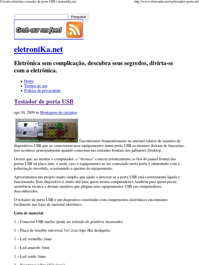 Circuito Eletronico : Circuito eletrônico testador de usb