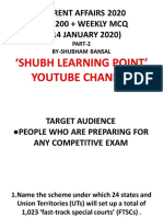 BEST 200 PLUS CURRENT AFFAIRS WEEKLY  MCQ JAN PART _2