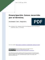 Andreassi Cieri, Alejandro (2015). Emancipacion breve recorrido por el termino