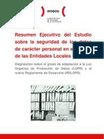 Resumen Ejecutivo Del Estudio Sobre La Seguridad de Los Datos de Caracter Personal en El Ambito de Las Entidades Locales