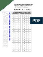 Gabarito prova escola Cícero Dias Recife/PE 2011