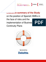 Executive summary of the Study on the position of Spanish SMEs in the face of risks and the implementation of Business Continuity Plans
