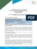 Guía de actividades y Rúbrica de evaluación - Tarea 2 Soporte Movimiento e Integración.