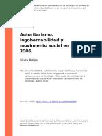 Autoritarismo, ingobernabilidad y movimiento social en oaxaca 2006