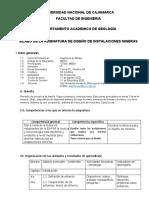 SILABO DISEÑO DE INSTALACIONES MINERAS 2020