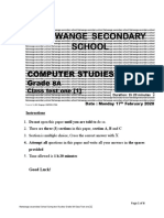 Computer Studies Grade 8 Test 1 from Natwange Secondary School.