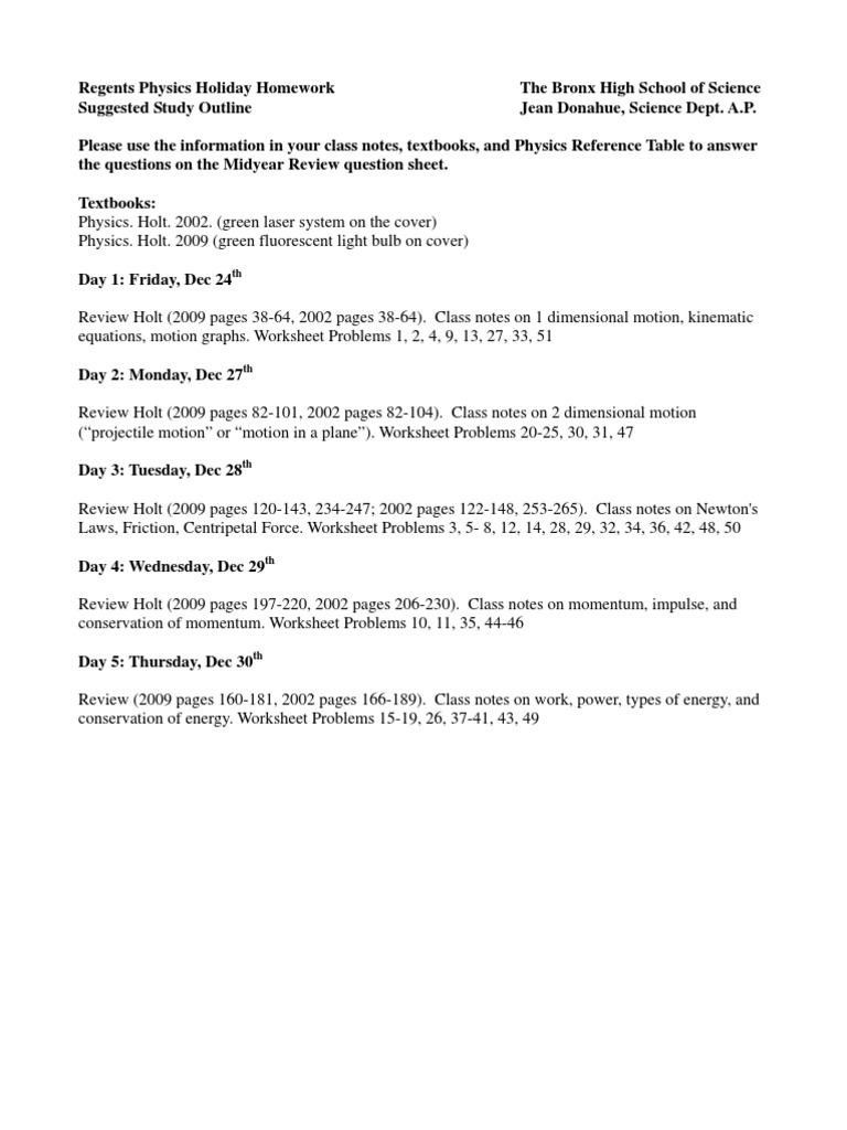 Worksheets Centripetal Force Worksheet physics midyear review 2010 11 force velocity