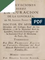 Samuel Foart- Observaciones sobre la curación de la gonorrea 1784