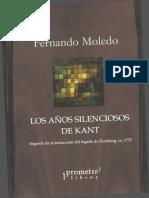 Moledo F. 2014 Los Años Silenciosos de Kant Buenos Aires Prometeo