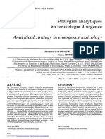 strategies analytiques en toxico d'urgence