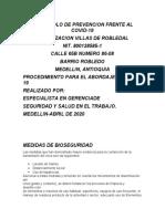 PROTOCOLO DE PREVENCION FRENTE AL COVID