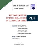 DETERMINACIÓN DE LA CINÉTICA DE LA INVERSIÓN DE LA SACAROSA EN MEDIO ACIDO