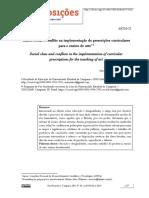 Classe social e conflito na implementação de prescrições curriculares para o ensino de arte2