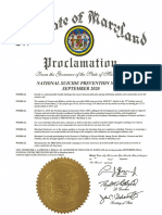 Suicide Prevention Month Proclamation from Maryland Governor Larry Hogan