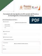 Formulario de inscripción a la XIV versión del Premio a la Investigación e Innovación Educativa