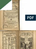 Alphabet Des Lettres et Points Hébraïques, Cossard 1647
