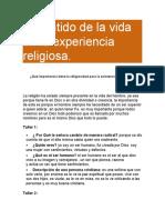 El sentido de la vida en la experiencia religiosa. grado 10