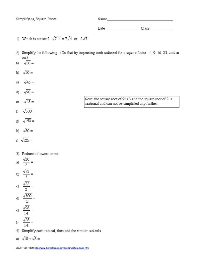 Simplifying Square Roots Worksheet  PDF Regarding Simplifying Radicals Worksheet 1