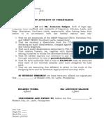 joint affidavit of undertaking