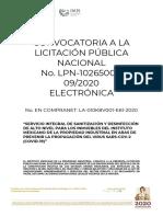 Convocatoria LPN Sanitización 28 de agosto 2020 publicada