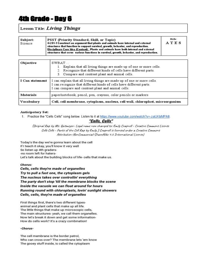 Q1 Day 6 Lesson Plan Cytoplasm Cell Biology [ 1024 x 768 Pixel ]