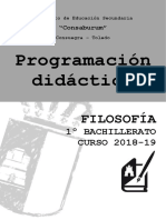 Programación 1º BACHILLERATO Filosofía 2018-19