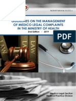 GUIDELINES ON THE MANAGEMENT OF MEDICO LEGAL COMPLAINTS IN MINISTRY OF HEALTH 2ND EDITION 2019