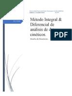 MÉTODOS INTEGRALES y DIFERENCIALES DE ANÁLISIS DE DATOS CINÉTICOS