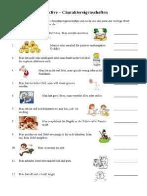 Liste adjektive charaktereigenschaften Liste von