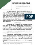 ANÁLISE DO RELATÓRIO DE AVALIAÇÃO PSICOLÓGICA DA CLIENTELA DE CLASSE ESPECIAL PARA DEFICIENTE MENTAL.