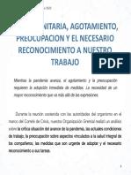 2020 09 11 Crisis Sanitaria, Agotamiento, Preocupacion y El Necesario Reconocimiento a Nuestro Trabajo