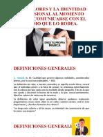 INTRODUCCION LOS VALORES Y LA IDENTIDAD PROFESIONAL AL MOMENTO