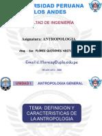 DEFINICION Y CARACTERISTICAS DE LA ANTROPOLOGIA