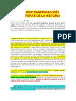 LAS CINCO PANDEMIAS MÁS MORTÍFERAS DE LA HISTORIA