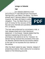 Permanent Savings vs Velarde