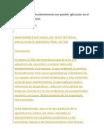 Metodologia de mantenimiento con posible aplicacion en el sector agroindustrial