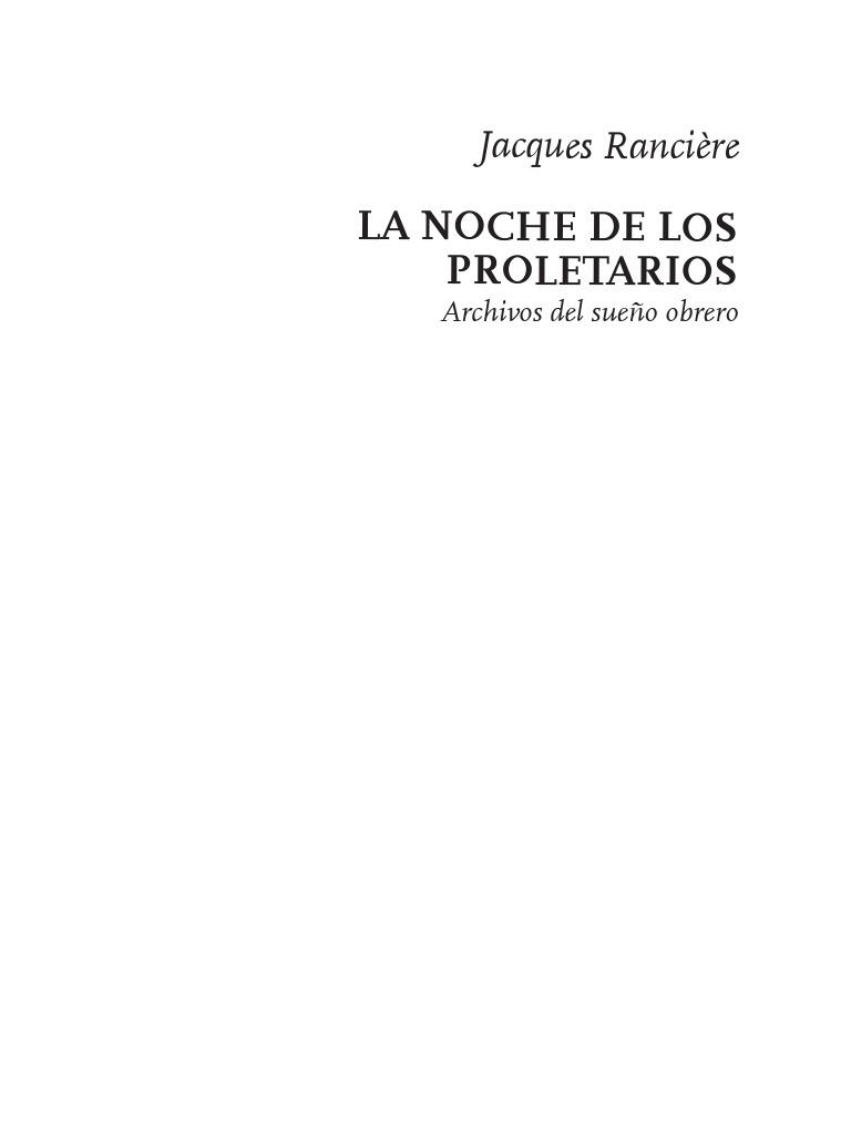 Ranciere, Jaques Noche de Los Proletarios