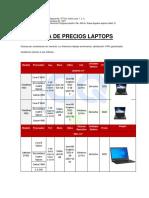 Lista de precios laptops