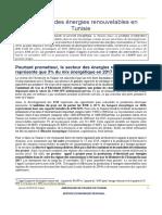 Le secteur des énergies renouvelables en Tunisie
