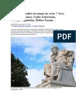 De la rationalité en temps de crise Avec Jean-Luc Nancy, Galia Ackerman, Giorgio Agamben, Didier Fassin