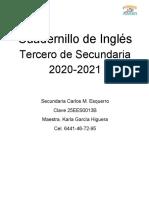 Cuadernillo de Inglés Tercero de Secundaria 2020 (1)