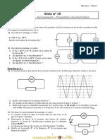 Série d'exercices N° 10 - Sciences physiques Transformateur - Redressement - Précipitation des électrolytes - 2ème Sciences (2010-2011) Mr Adam Bouali