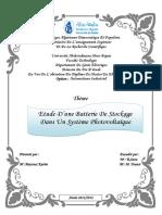 Etude d'une batterie de stockage dans un système photovoltaïque